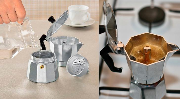 Приготовление кофе в моке